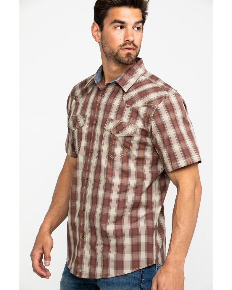 Cody James Men's Minot Plaid Short Sleeve Western Shirt , Lt Brown, hi-res