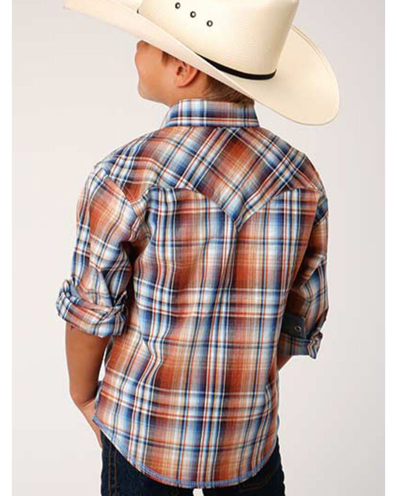 West Made Boys' Meadow Plaid Long Sleeve Western Shirt , Brown, hi-res