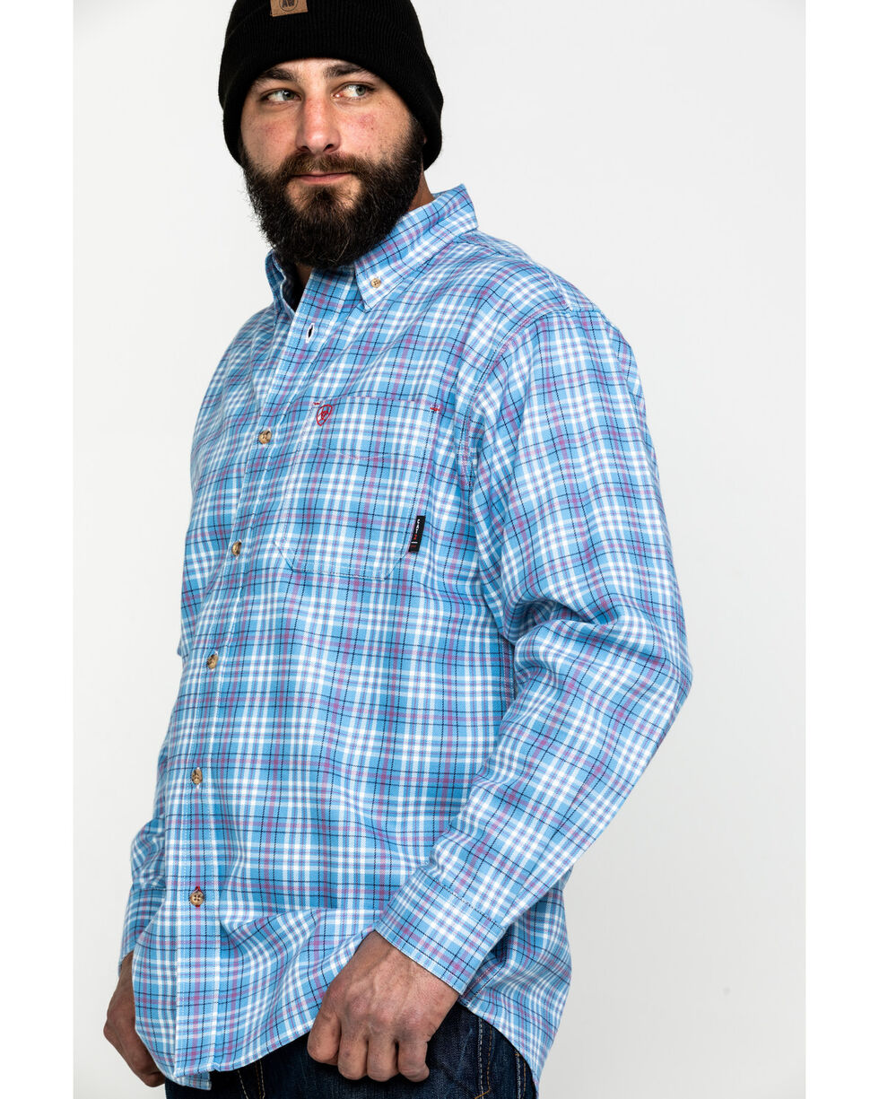 Ariat Men's Coast Blue FR Jett Plaid Long Sleeve Work Shirt - Tall , Blue, hi-res