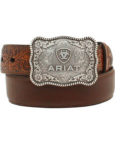 Ariat Boys' Distressed Hand Tooled Belt, Brown, hi-res