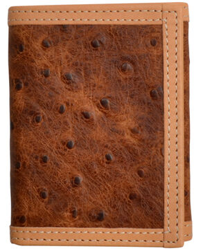 3D Men's Brown Rustic Ostrich Print Leather TriFold Wallet , Brown, hi-res