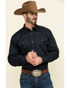 Cowboy Hardware Men's Honeycomb Geo Print Long Sleeve Western Shirt , Black, hi-res