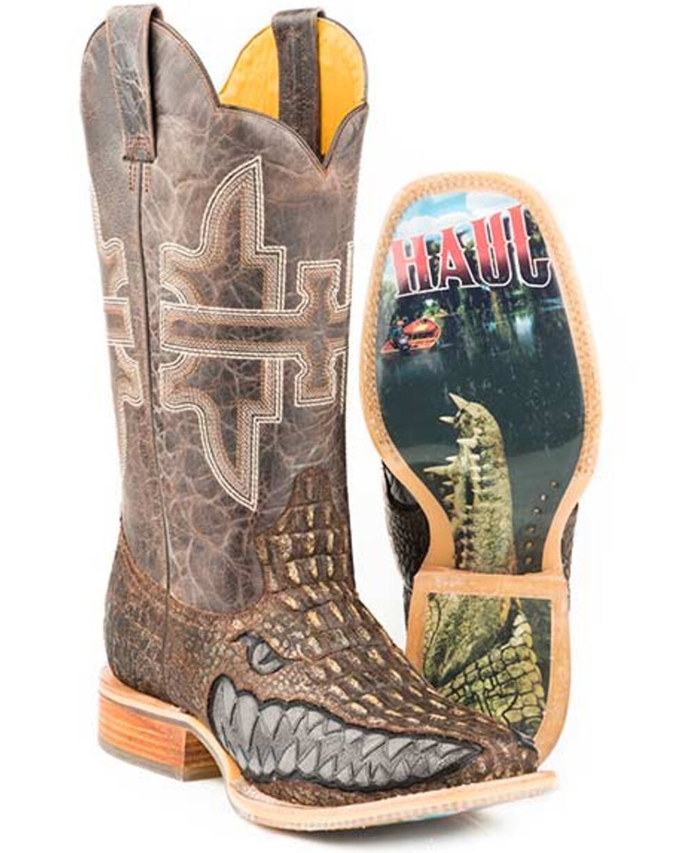 14-020-0007-0342 Br Tin Haul Mens Money Maker Western Boot Square Toe