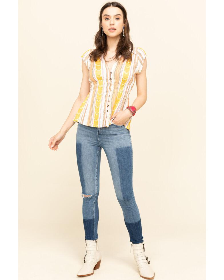 Shyanne Women's Yellow Stripe Button Short Sleeve Top , Yellow, hi-res