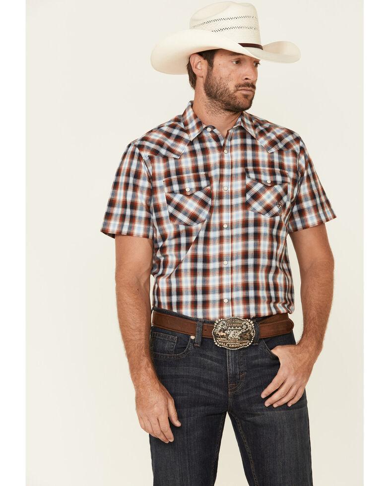 Ariat Men's Albany Retro Ombre Small Plaid Short Sleeve Western Shirt , Blue, hi-res