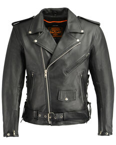 Milwaukee Leather Men's Classic Side Lace Concealed Carry Motorcycle Jacket - 5X, Black, hi-res