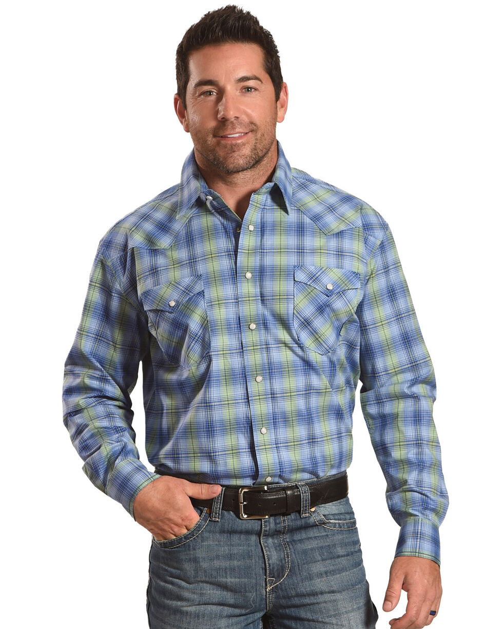 Rough Stock by Panhandle Men's Blue Rockford Plaid Shirt , Blue, hi-res