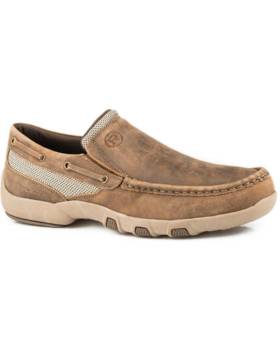 Roper Men's Owen Slip-On Shoes - Moc Toe, Brown, hi-res