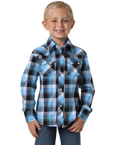 Wrangler Retro Boys' Light Blue Plaid Long Sleeve Western Shirt , Blue, hi-res