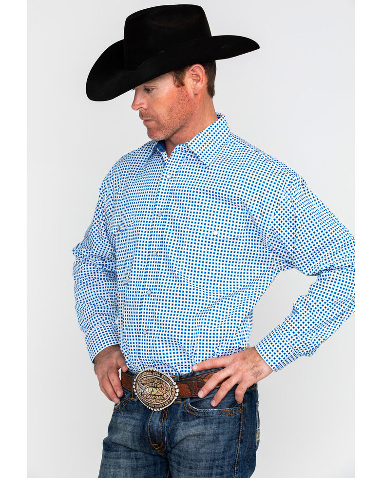 Panhandle Select Men's Poplin Geo Print Long Sleeve Western Shirt , Blue, hi-res