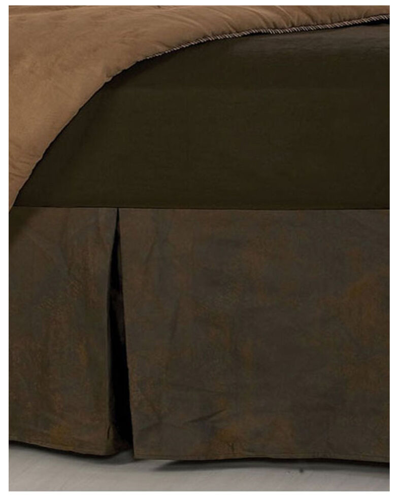 HiEnd Accents Faux Leather Chocolate Bed Skirt, Brown, hi-res