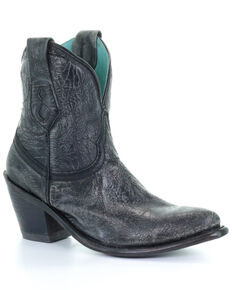 Corral Women's Distressed Black Western Booties - Snip Toe, Black, hi-res