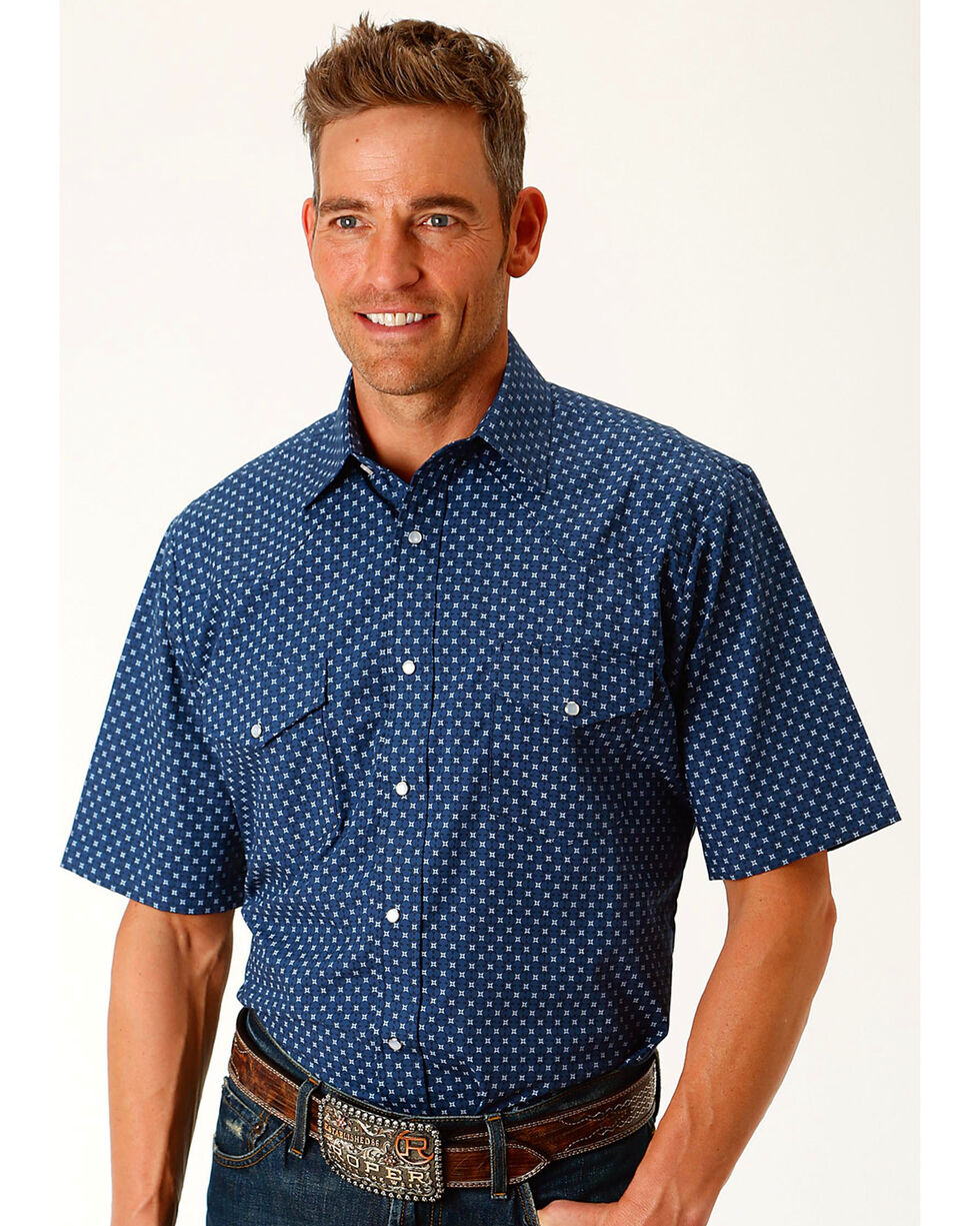 Roper Men's Star Print Short Sleeve Western Snap Shirt, Navy, hi-res