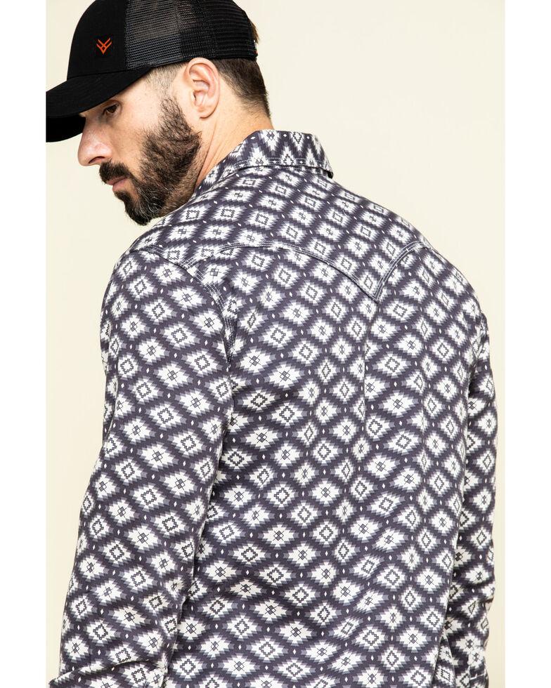 Rock & Roll Cowboy Men's FR Printed Aztec Twill Long Sleeve Work Shirt , Charcoal, hi-res