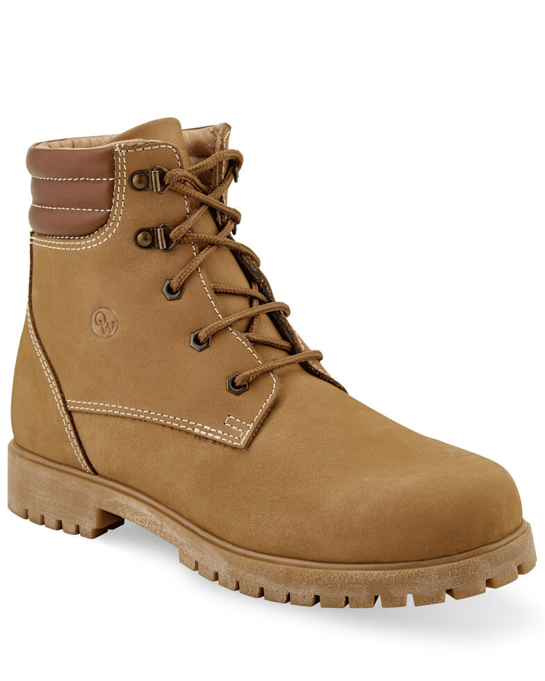 Old West Men's Leather Outdoor Boots - Round Toe, Brown, hi-res