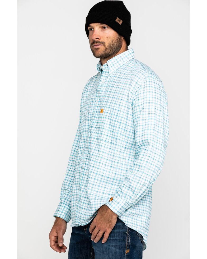 Wrangler 20X Men's FR Turquoise Plaid Long Sleeve Work Shirt , Turquoise, hi-res