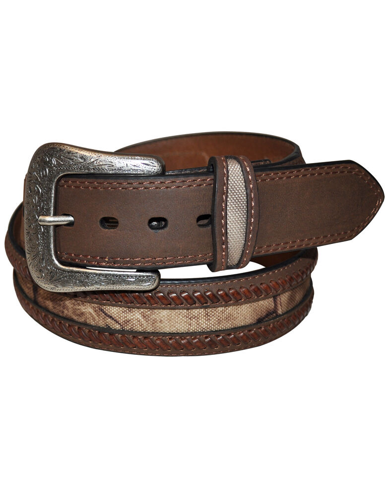 G Bar D Men's Brown Camo Overlay Belt, Brown, hi-res