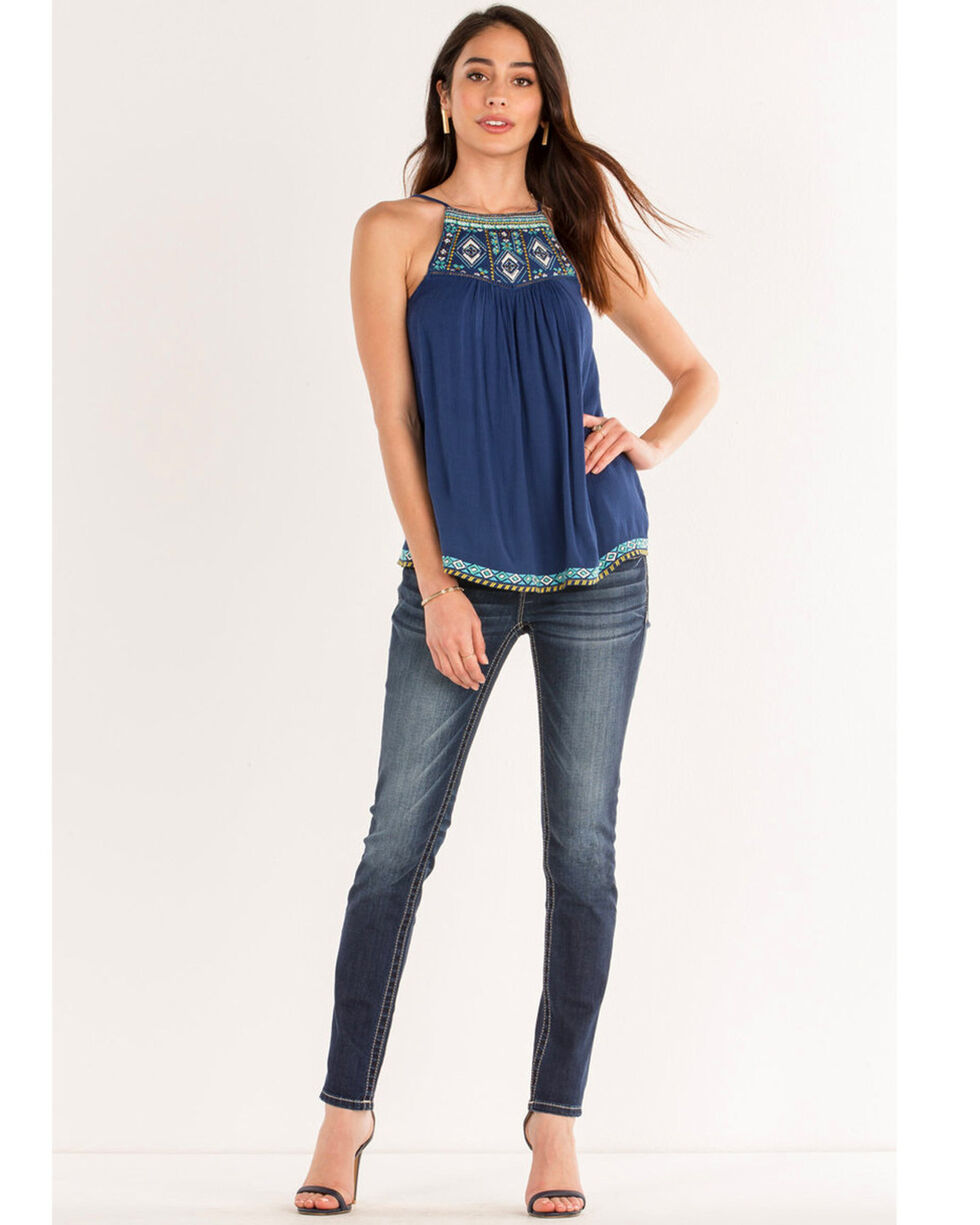 Miss Me Women's Embroidered Tank, Navy, hi-res