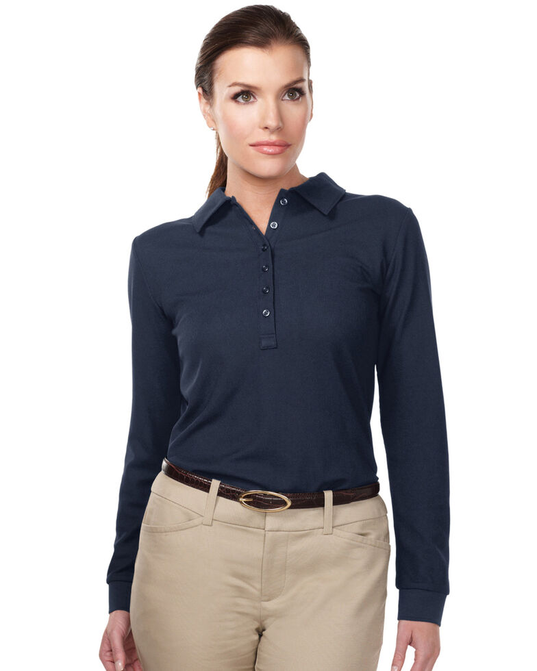 Tri-Mountain Women's Navy 3X Stamina Long Sleeve Polo - Plus, Navy, hi-res