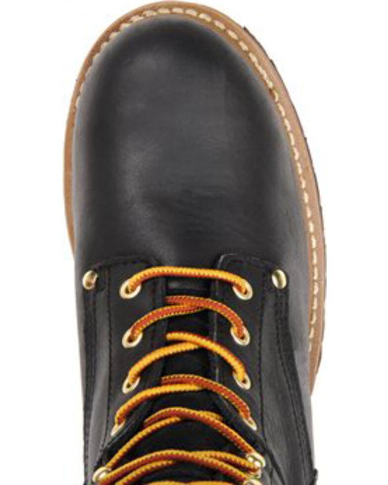 """Carolina Men's 8"""" Steel Toe Logger Boots, Black, hi-res"""