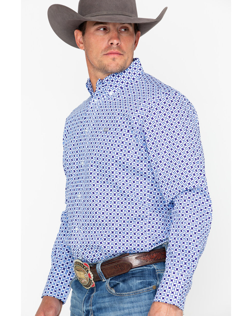Wrangler 20X Men's Purple Performance Long Sleeve Western Shirt, Periwinkle, hi-res