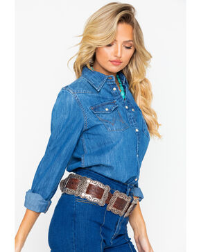 Wrangler Women's Modern Western Denim Long Sleeve Shirt, Indigo, hi-res