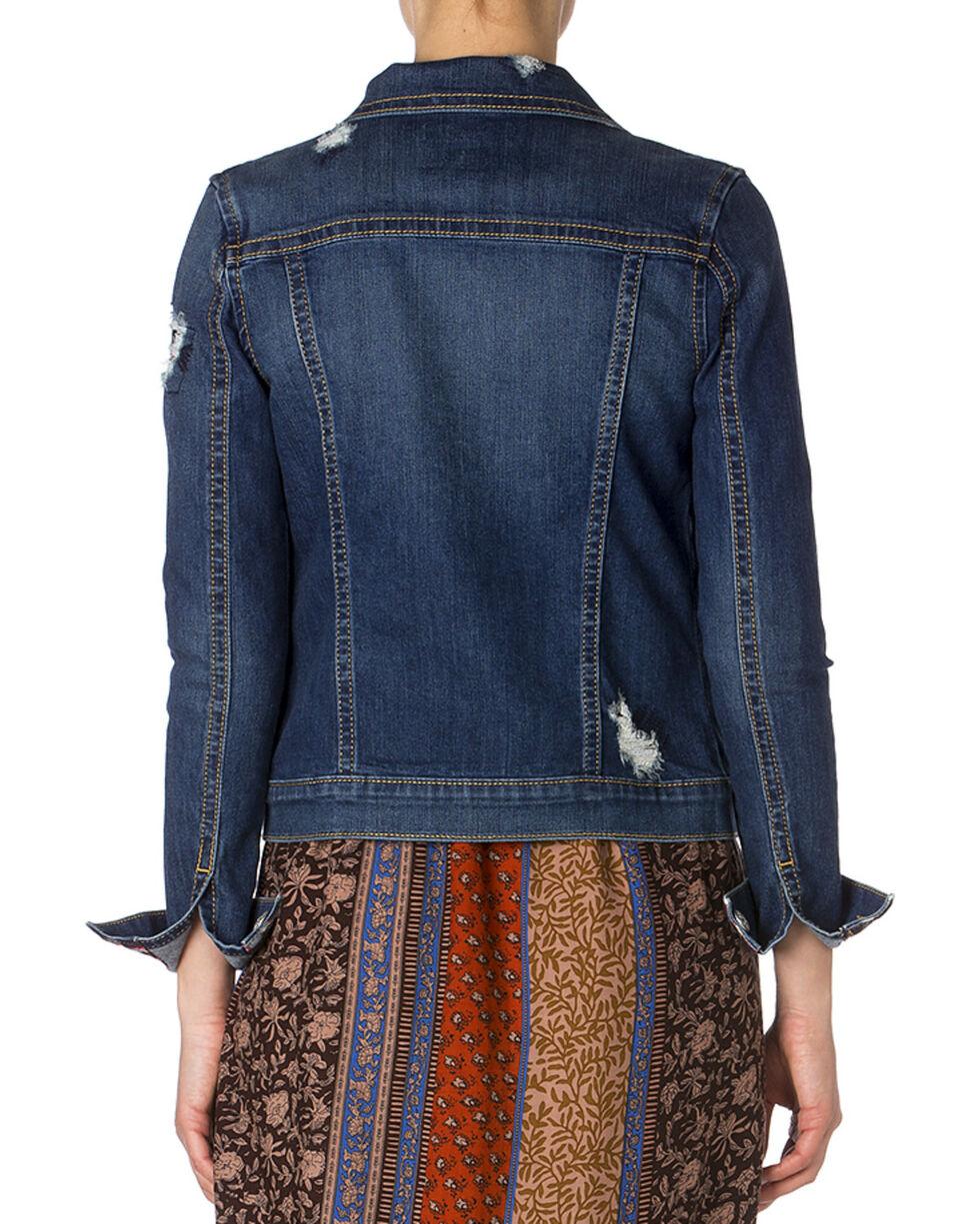 Miss Me Gingham Detail Denim Jacket, Denim, hi-res