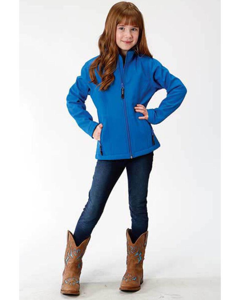 Roper Girls' Blue Fleece Softshell Jacket, Blue, hi-res