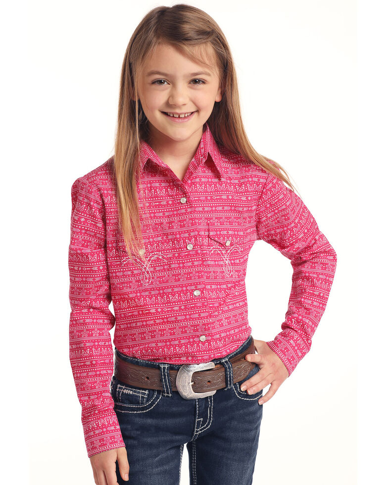 Panhandle Girls' Pink Aztec Print Embroidered Long Sleeve Western Shirt , Pink, hi-res