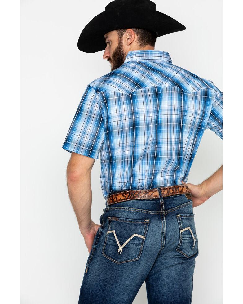 Wrangler Men's Small Plaid Fashion Snap Short Sleeve Western Shirt , Blue, hi-res