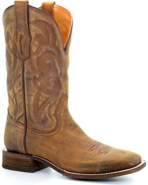 Corral Men's Embroidered Square Toe Western Boots, Lt Brown, hi-res