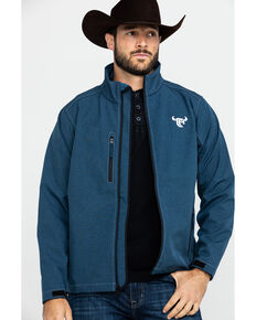 Cowboy Hardware Navy Men's Logo Poly Shell Jacket , Navy, hi-res