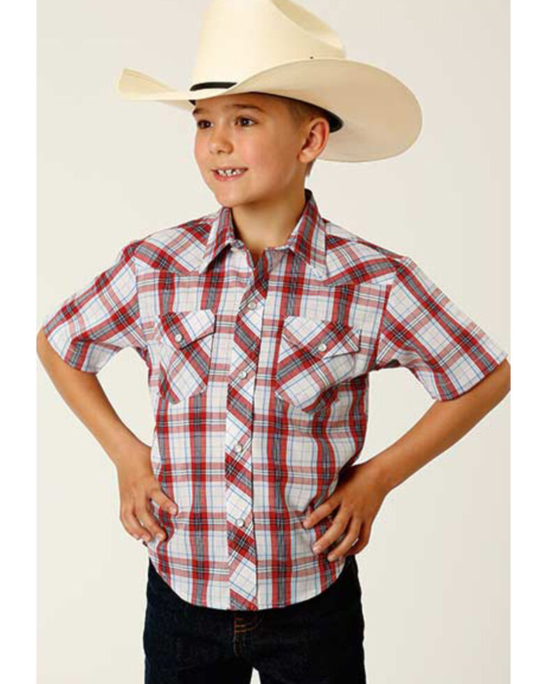 Roper Boys' Tablecloth Plaid Short Sleeve Snap Western Shirt , White, hi-res