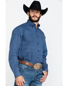 Stetson Men's Navy Neat Geo Print Long Sleeve Western Shirt , Blue, hi-res