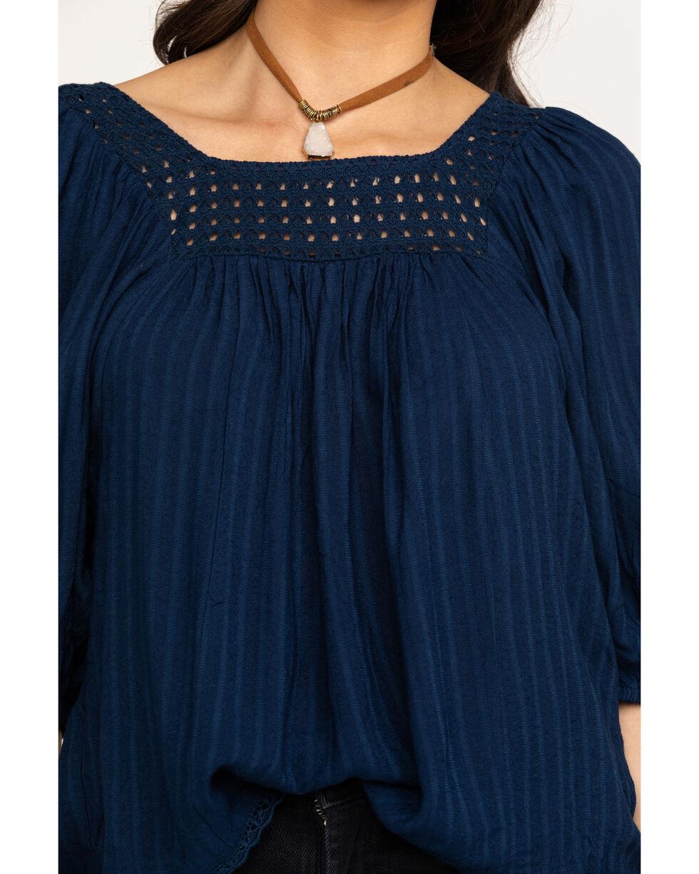 Miss Me Women's Navy Crochet Flowy Peasant Top, Navy, hi-res