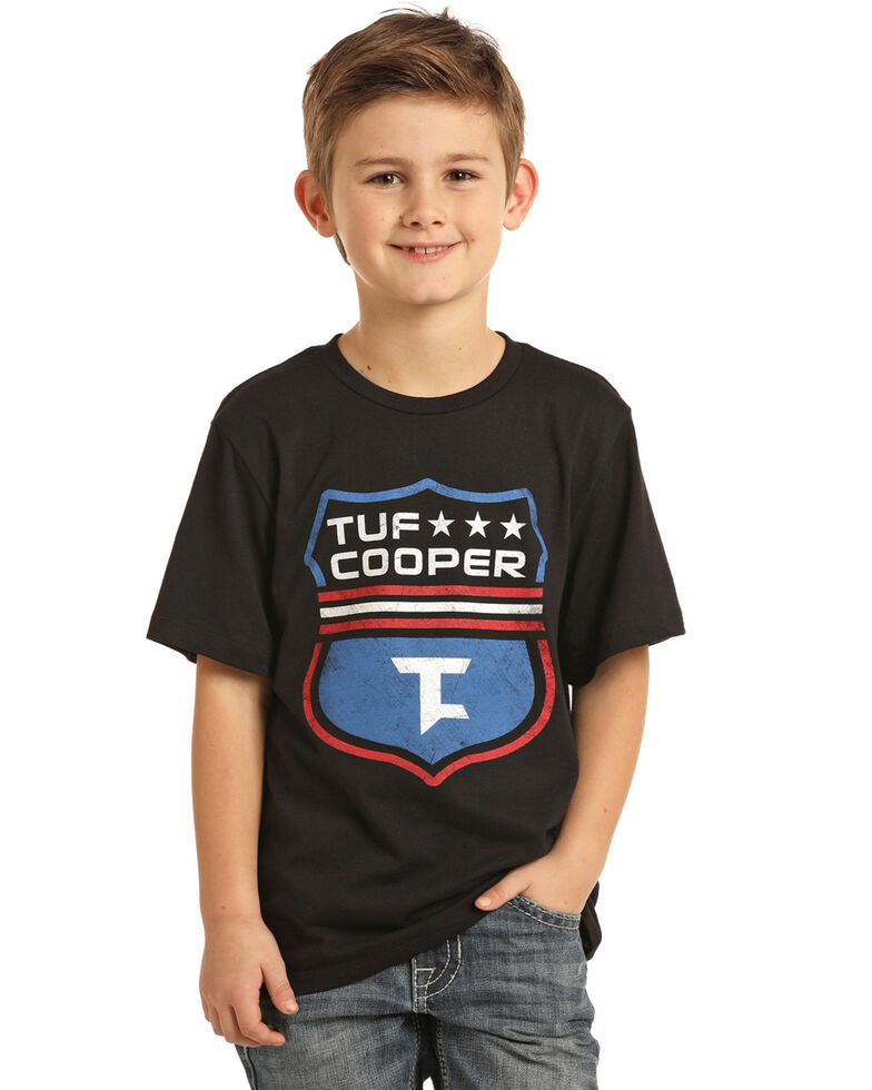 Rock & Roll Cowboy Boys' Tuf Cooper Shield Graphic T-Shirt , Black, hi-res