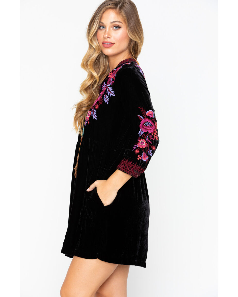 Johnny Was Women's Solid Marcella Embroidered Velvet Henley Dress, Black, hi-res