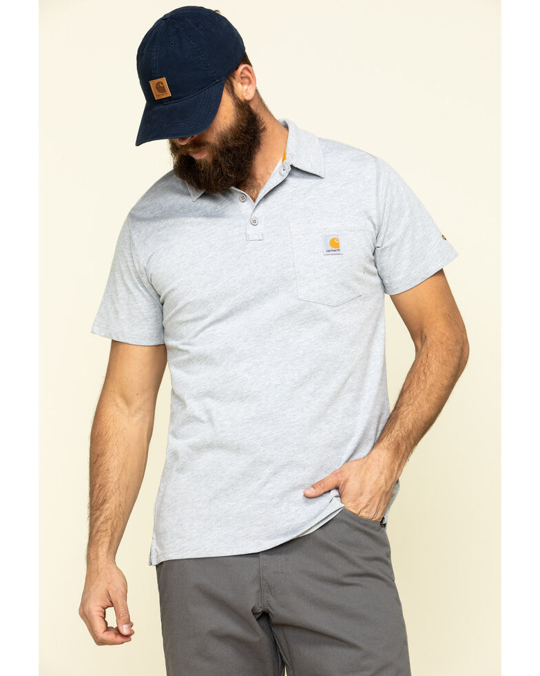 Carhartt Men's Grey Force Cotton Pocket Polo Work Shirt , Heather Grey, hi-res