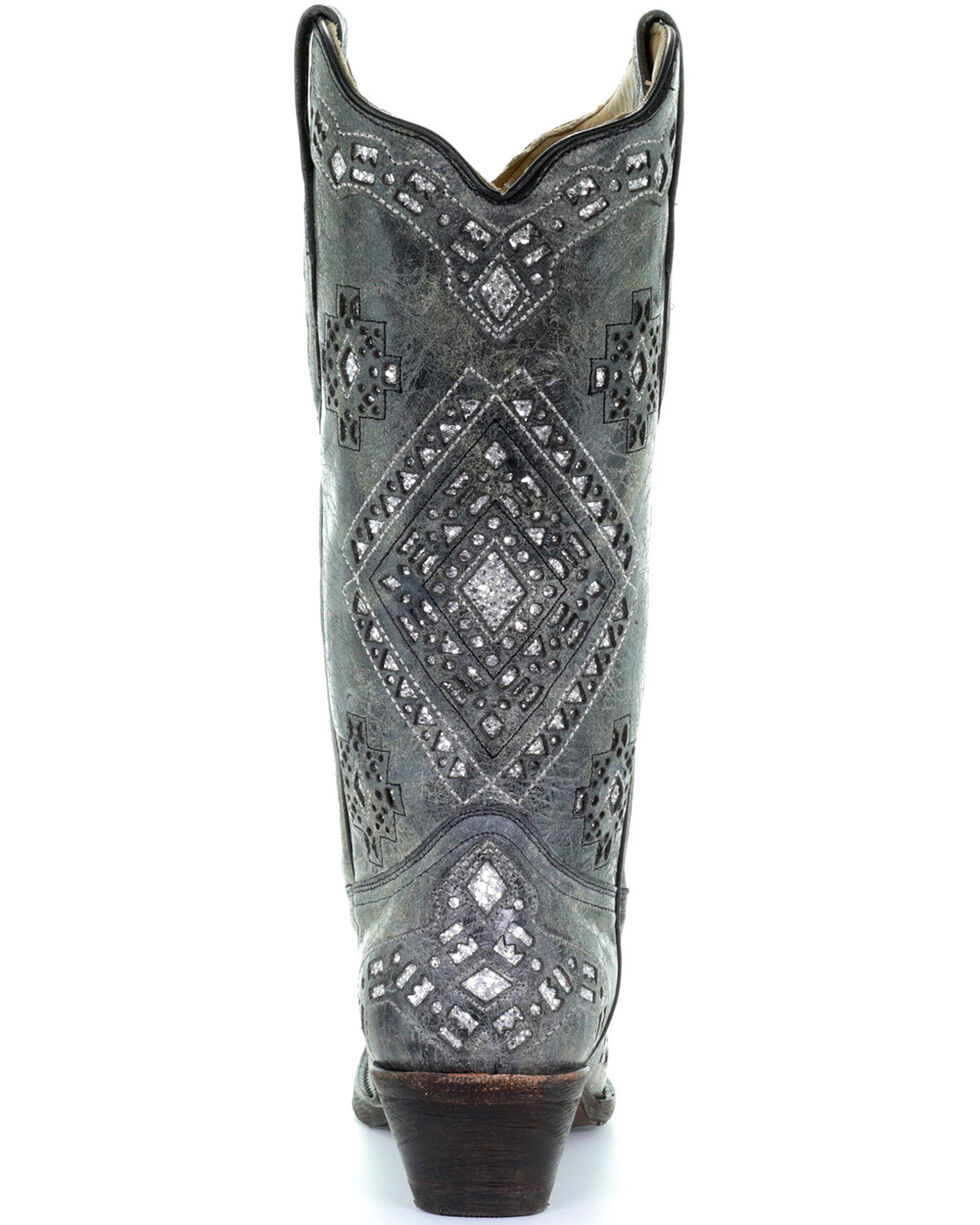 Corral Women's Glitter Inlay Western Boots, Black Distressed, hi-res
