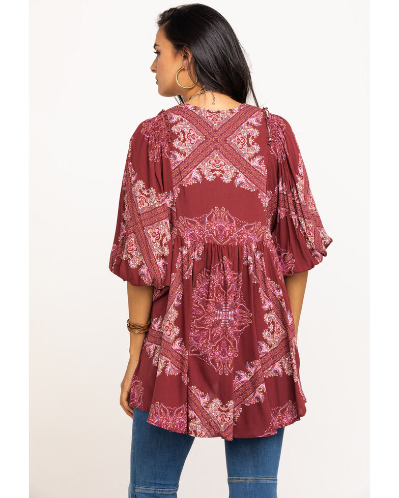 Free People Women's Girl Talk Tunic, Dark Pink, hi-res