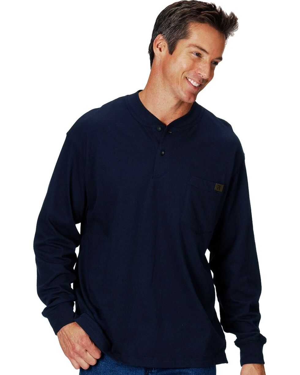 Riggs Workwear Men's Long Sleeve Henley T-Shirt, Navy, hi-res