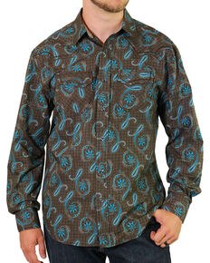 Moonshine Spirit Men's Geo Paisley Western Shirt, Brown, hi-res