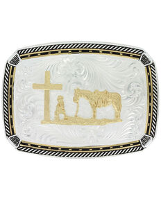 Montana Silversmiths Two Tone Fastened At All Four Corners Buckle With Christian Cowboy, Silver, hi-res