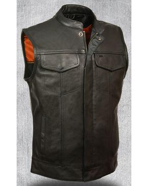 Milwaukee Leather Men's Open Neck Snap/Zip Front Club Style Vest - 5X, Black, hi-res