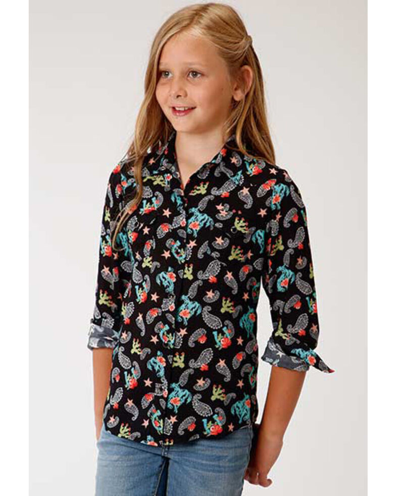 Five Star Girls' Paisley Print Long Sleeve Western Shirt, Black, hi-res