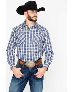 Pendleton Men's Plaid Herringbone Frontier Snap Long Sleeve Western Shirt , Blue, hi-res