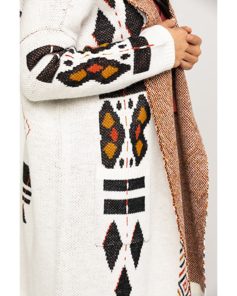 Shyanne Women's Hooded Aztec Over-sized Cardigan, Ivory, hi-res