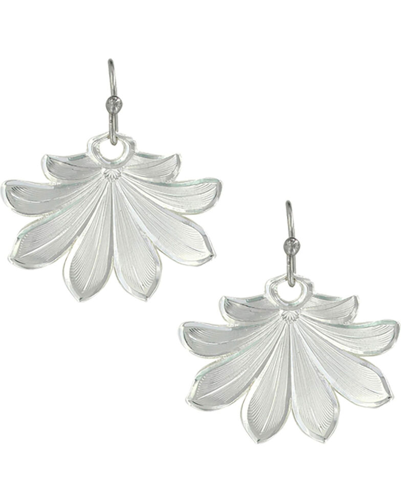 Montana Silversmiths Women's Bitterroot Flower Fan Earrings , Silver, hi-res