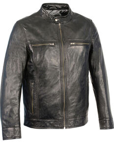 Milwaukee Leather Men's Zip Front Classic Moto Leather Jacket - 5X, Black, hi-res