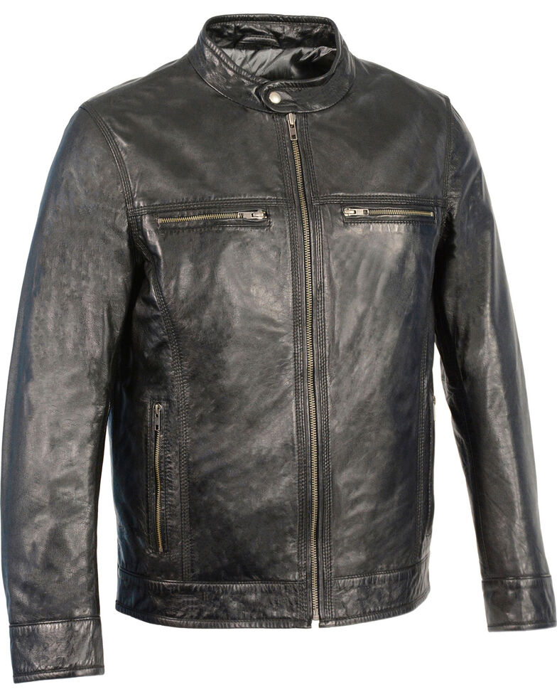 Milwaukee Leather Men's Zip Front Classic Moto Leather Jacket - 5X, , hi-res